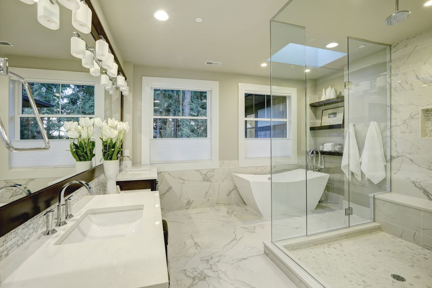 Amazing master bathroom with large glass walk-in shower